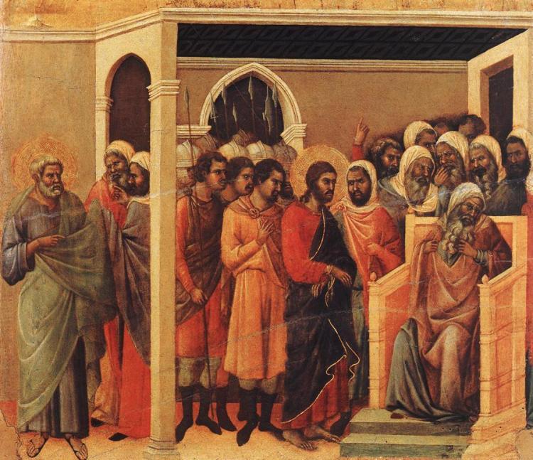 Christ Before Caiaphas by Duccio di Buoninsegna