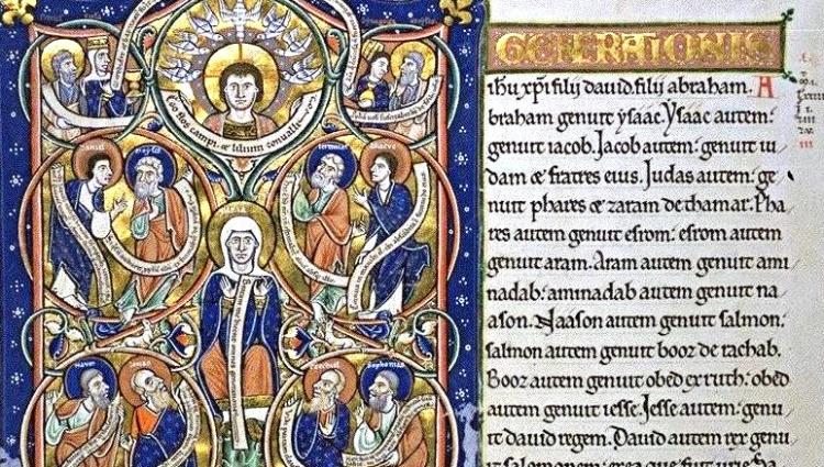 JesseTree (Capuchin's Bible, c. 1180, Bibliothèque nationale de France, Paris) - cropped