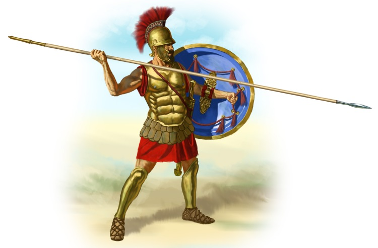 4th century hoplite, illustration by Johnny Shumate