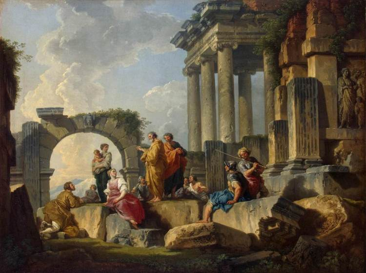 Apostle Paul Preaching upon the Ruins by Giovanni Paolo Panini (1744)