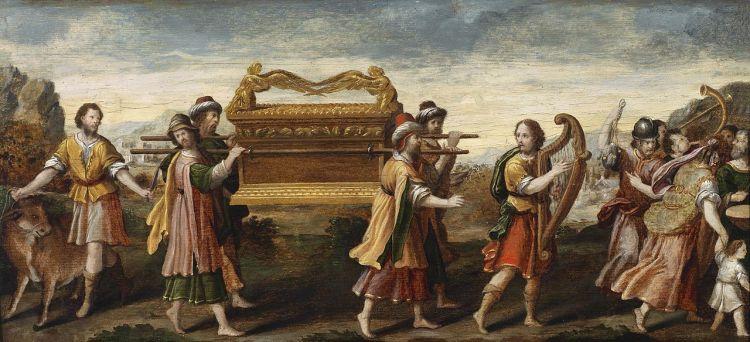 """""""Die Überführung der Bundeslade durch den singenden und tanzenden David"""" (Anonymous, 16th century)"""