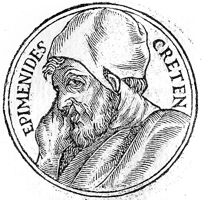 Illustration of Epimenides from %22Promptuarii Iconum Insigniorum%22 by Guillaume Rouillé