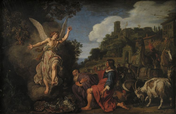 The Angel Raphael Takes Leave of Old Tobit and his Son Tobias — Pieter Lastman, 1618