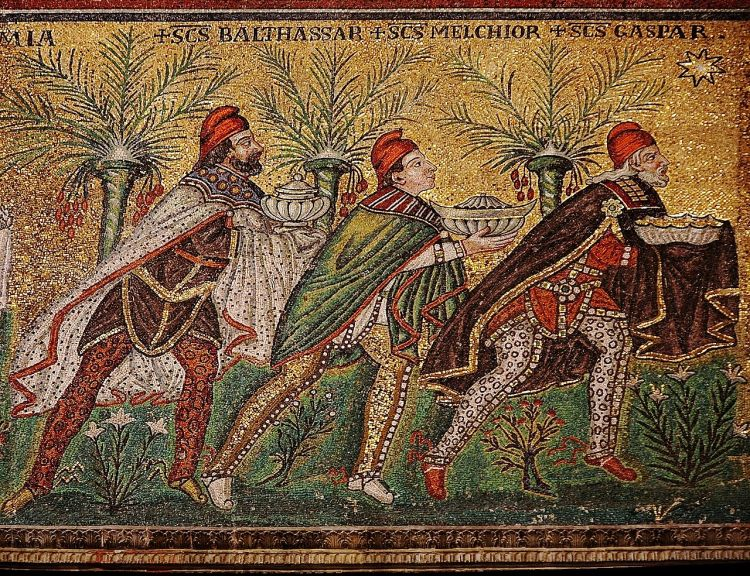 """The Three Wise Men"", a mosaic from the Basilica of Sant'Apollinare Nuovo in Ravenna, Italy, c. 526."