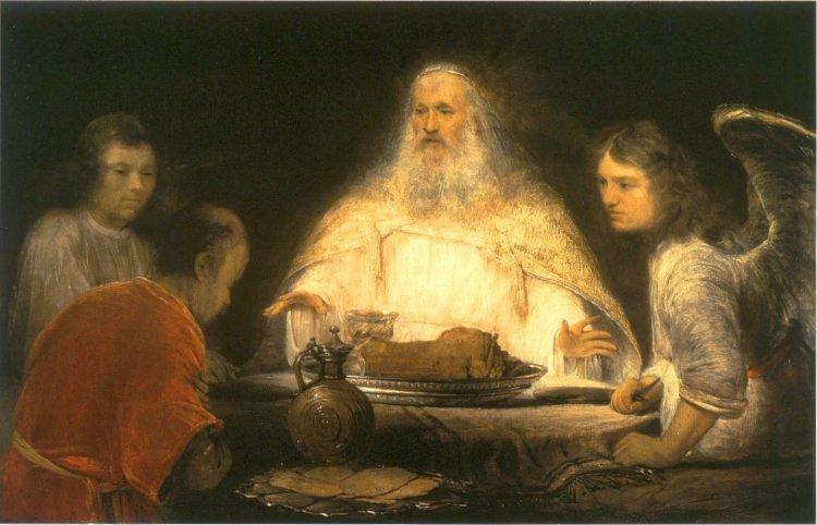 Arent de Gelder, God and the Angels visit Abraham, c. 1680 - 1685