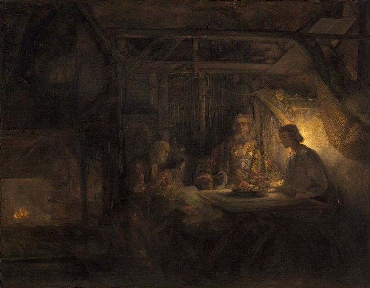 Rembrandt van Rijn (Dutch, 1606 - 1669 ), Philemon and Baucis, 1658, oil on panel transferred to panel, Widener Collection