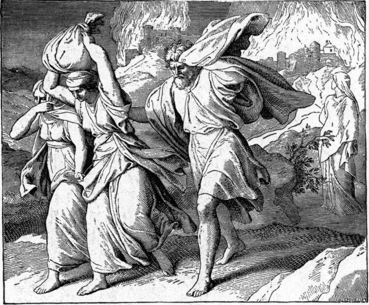 Fleeing Sodom and Gomorrah by Julius Schnorr von Carolsfeld, 1860
