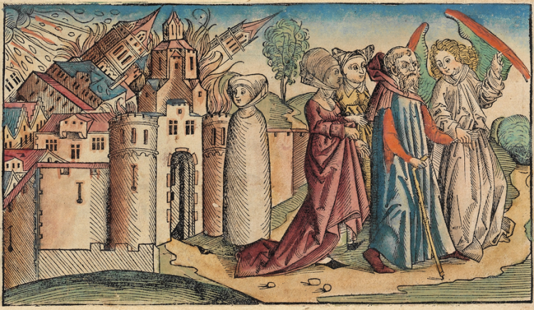 Lot leaving Sodom, Woodcut from the Nuremberg Chronicle