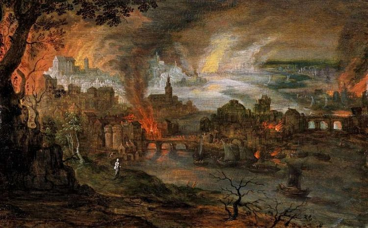 Pieter Schoubroeck, De verwoesting van Sodom en Gomorra (The destruction of Sodom and Gomorrah), 16th century