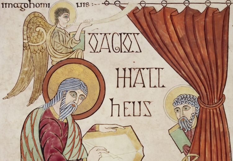 Lindisfarne Gospels - caption: 'St. Matthew'