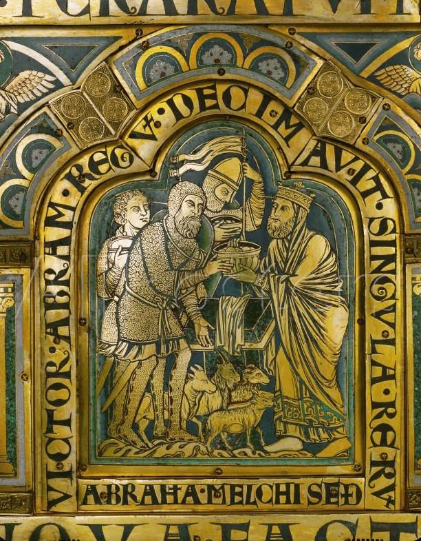 Abraham and Melchizedek, Verdun Altar, by Nicholas of Verdun, 1181