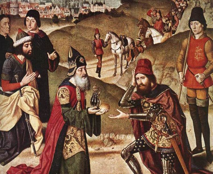 Meeting of Abraham and Melchizedek—by Dieric Bouts the Elder, 1464–1467