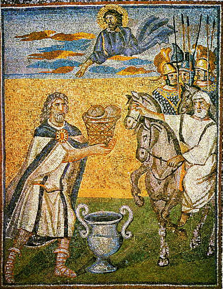 Melchizedek offering bread and wine to Abraham, Basilica di Santa Maria Maggiore