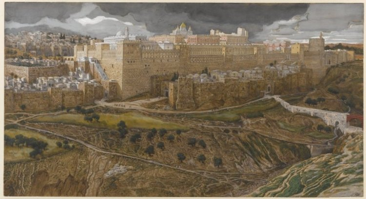 Reconstruction of the Temple of Herod, Southeast Corner by  James Tissot