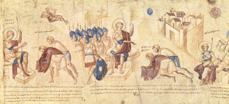 """Meister der Rolle des Josua 001"" from the Joshua Roll, a 10th-century illuminated Byzantine manuscript"