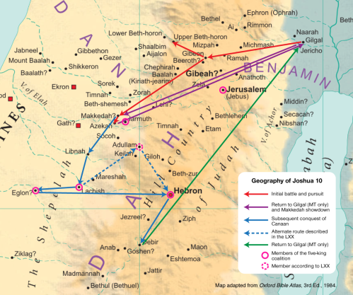 The route of Joshua's Long Day campaign