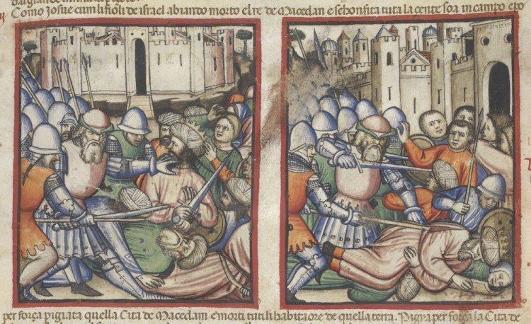 Joshua killing the King of Makkedah (Joshua 10-28), Add MS 15277, f. 72r