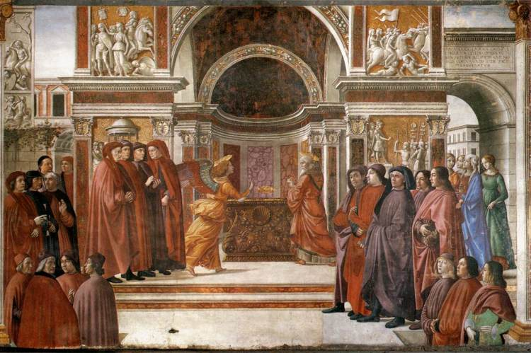 Angel Appearing to Zacharias, by Domenico Ghirlandaio (1486–1490)
