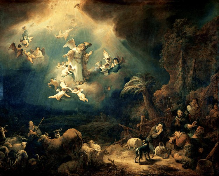 Govert Flinck, Aankondiging aan de herders (Angels announcing Christ's birth to the shepherds), 1639
