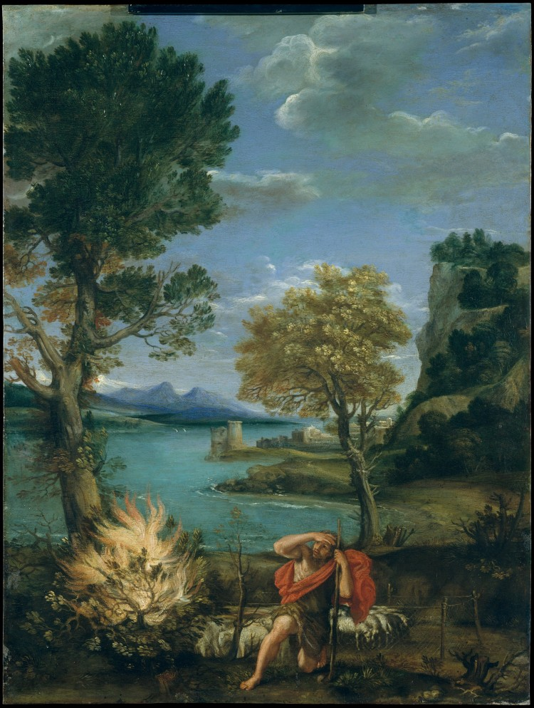 Landscape with Moses and the Burning Bush by Domenichino (Domenico Zampieri), 1610–16