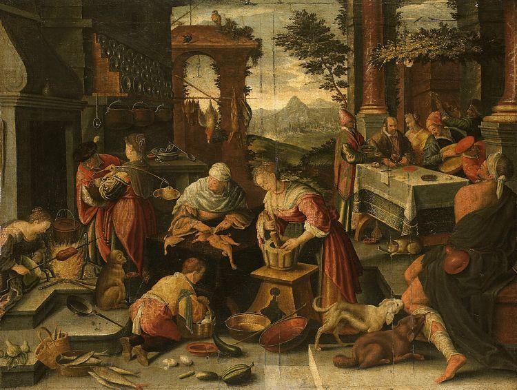 De rijke man en de arme Lazarus by Jacopo da Ponte, 16th century