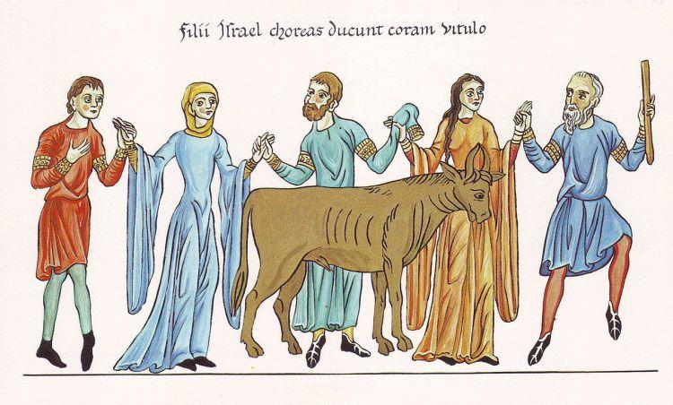 Hortus Deliciarum, Der Tanz um das goldene Kalb, c. 1180