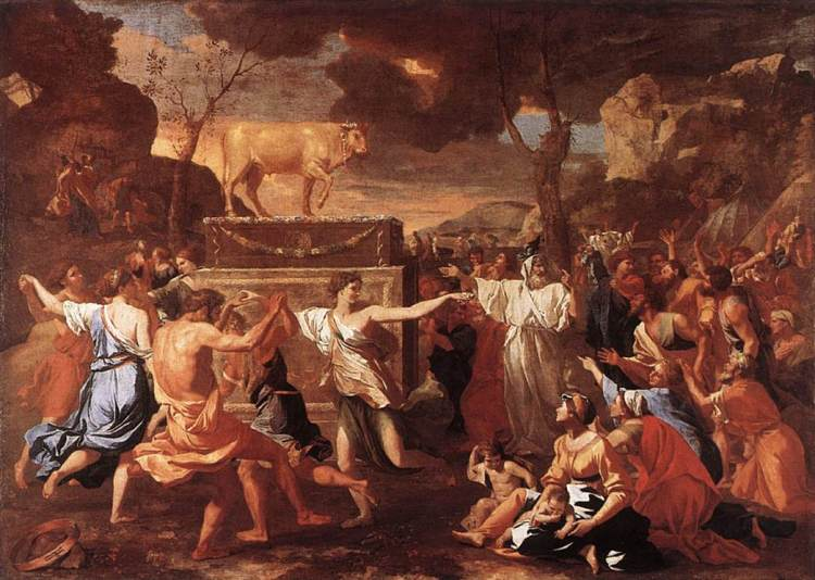The Adoration of the Golden Calf by Nicolas Poussin, c. 1634