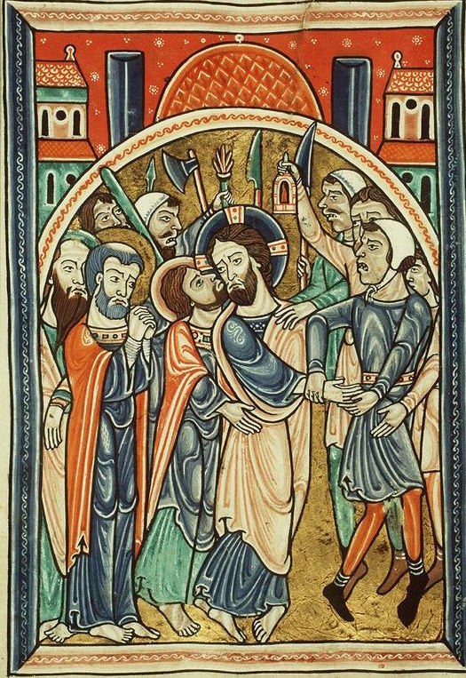 The arrest of Christ, The Fécamp Psalter (KB 76 F 13, fol. 21v), c. 1180