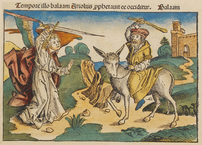 Balaam, the Angel and the Ass; Woodcut from the Nuremberg Chronicle, 1493