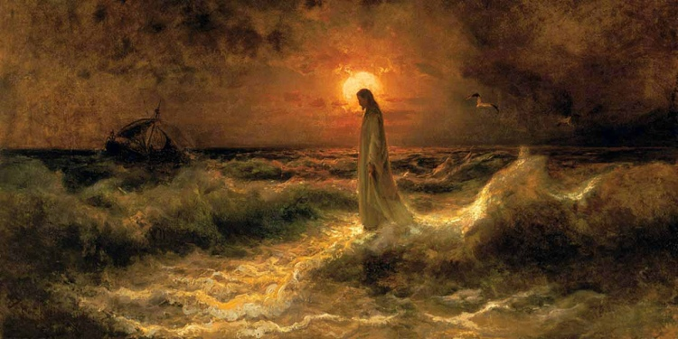 Christ Walking on the water, 1880, by Julius Sergius Von Klever