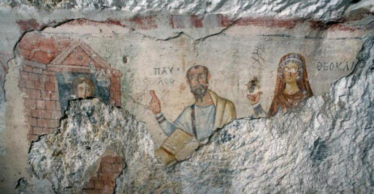 Cave painting of Paul and Thecla from Ephesus