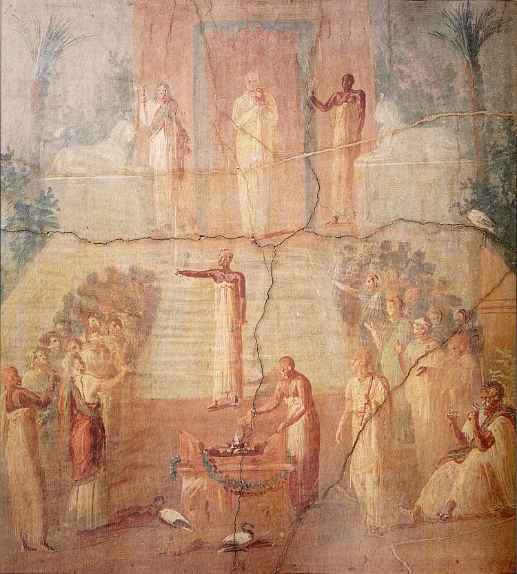 Ritual da água isíaca, afresco do século I de Herculano