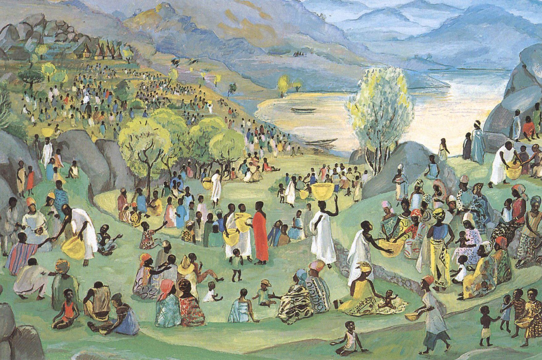 Jesus multiplies the loaves and fish, Jesus Mafa, 1973